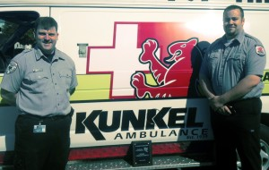 Kunkel Ambulance paramedics William Dye and Brian Crolius were recently honored by St. Elizabeth Trauma Center and the Midstate Regional EMS Council for their response to a mass shooting incident in March 2013.